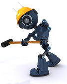 Android builder with a sledgehammer — Stock Photo