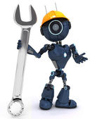 Android builder with a wrench — Stock Photo