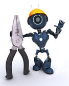 Android builder with pliers — Stock Photo