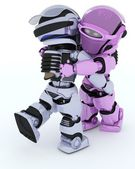 Robots ballroom dancing — Stock Photo