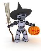 Robot witch with pumpkin — Stok fotoğraf