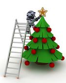 Robot trimming the tree — Stock Photo