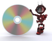 Android with DVD Disc — 图库照片