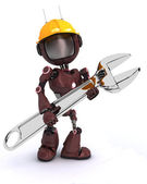 Android builder with a wrench — Stockfoto