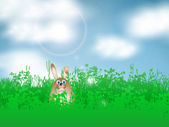 Easter bunny in grass — Stock Vector
