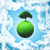 3D render of a grassy globe with a tree — Stock Photo