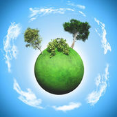 3D grassy globe with trees and bushes — Stock Photo