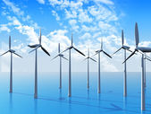 3D Wind turbines in ocean — Stock Photo