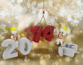 Happy New Year background with white characters — Stock Photo