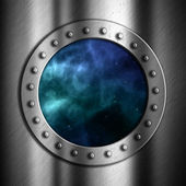 Brushed metal background with space porthole — Zdjęcie stockowe