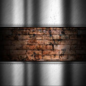 Brushed metal background with brick — Zdjęcie stockowe