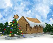 Cardboard Christmas trees and houses — Stock Photo