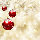 Christmas baubles and  snowflake background — Stock Photo