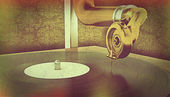 Gramophone with retro effect — Stock Photo