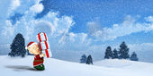 Cute Santa elf on a winter Landscape — Stock Photo