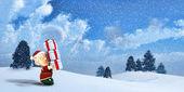 Cute Santa elf on a winter Landscape — Stock Photo