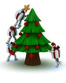 Christmas gift Characters decorating the tree — Stockfoto
