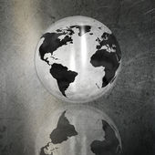 Globe on a grunge brushed metal background — Stockfoto