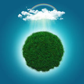 3D render of a grassy globe with a rainbow and raincloud — Stock Photo