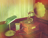 3D render of an old gramophone with retro effect — Stock Photo