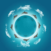 3D render of a water globe with jumping dolphins and clouds — Stock Photo