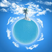 Palm tree on ocean globe — Foto Stock
