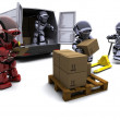 Robot with Shipping Boxes loading a van — Stock Photo #9285958