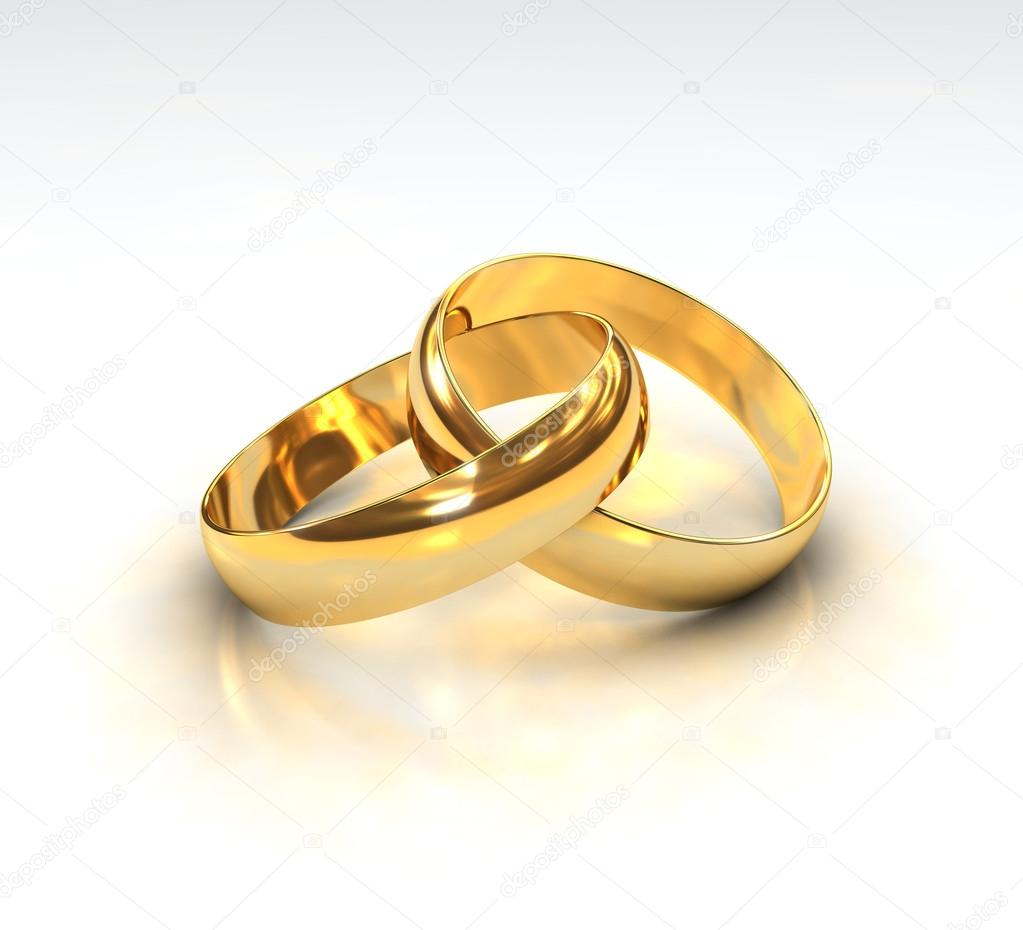 A Pair of golden Wedding Rings on white background — Stock Photo #12230756