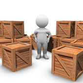 Moving wooden crates — Stock Photo