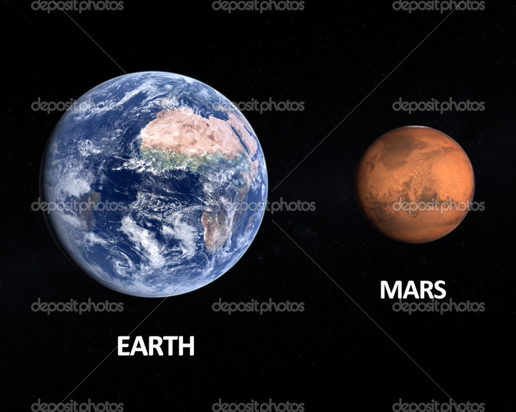 Planets Earth and Mars — Stock Photo © Tristan3D #35284745