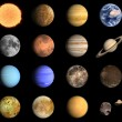 Planets and some Moons of the Solar System — Stock Photo