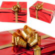 Set red gift box on white background — Stock Photo #18059073