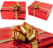 Set red gift box on a white background — Stock Photo
