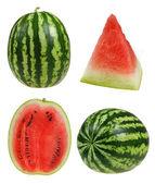 Setripe watermelon isolated on white background cutout — Stock Photo