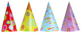 Set of party hats isolated on white — Photo