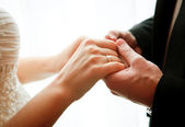 Wedding theme, newlyweds holding hands — Stock Photo