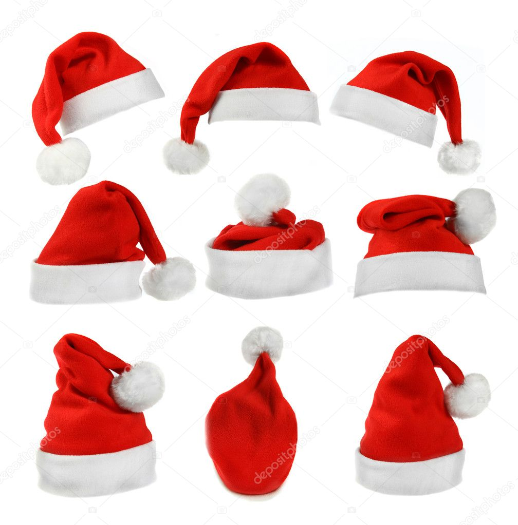 Set of red Santa Claus hats isolated on white background   Stock Photo #18085409