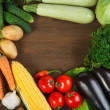 Healthy Organic Vegetables on a Wooden Background. Frame Design  — Stock Photo
