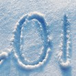 Year 2014 written in Snow in High Key — Stock Photo