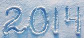 Año 2014 escrito en nieve en clave alta — Foto de Stock