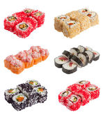 Sushi rolls set on a white background — Stock Photo