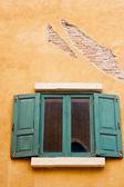 Vintage green wood window — Stock Photo
