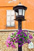 Blumentöpfe, die an den mast hängen — Stockfoto