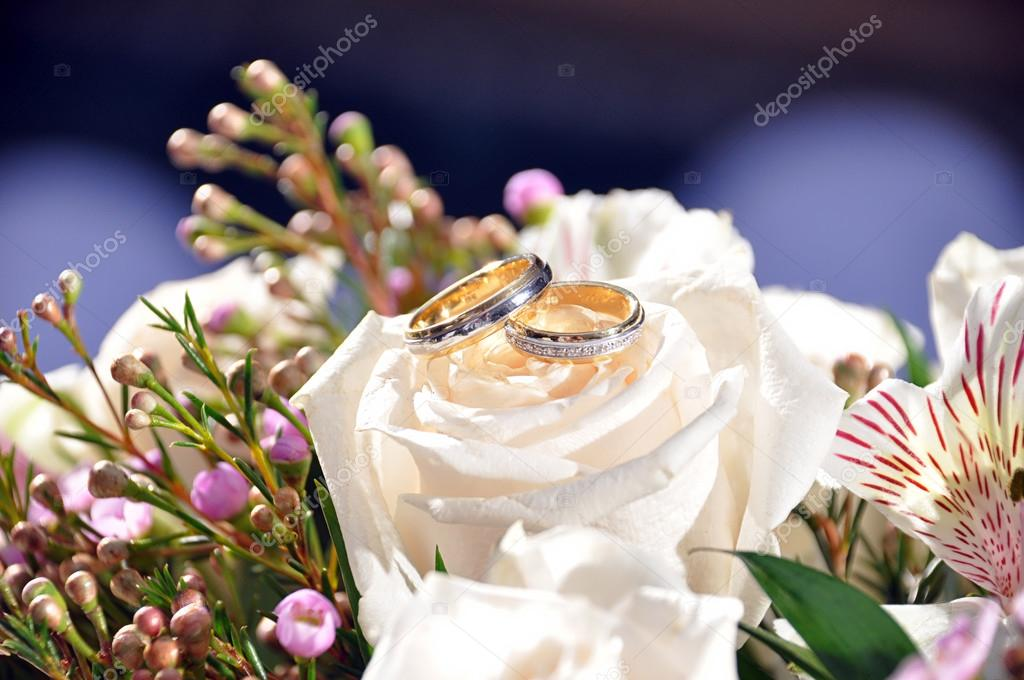 Wedding rings upon a white rose — Stock Photo #12639802