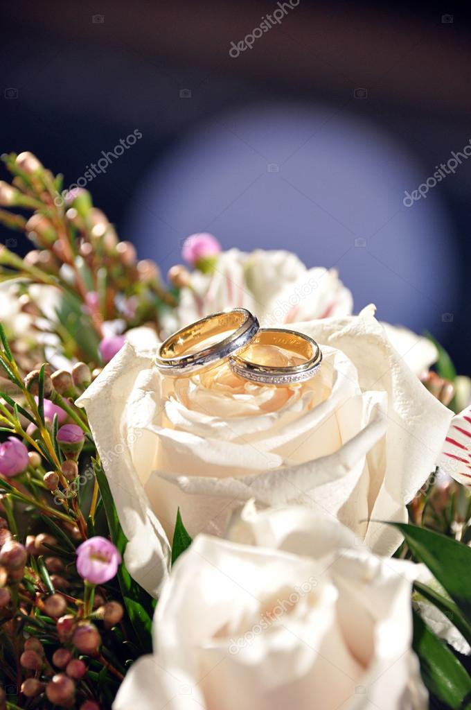 Wedding rings upon a white rose — Stock Photo #12639803