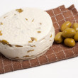 Homemade cheese with olives — Stock Photo