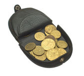 Open purse with coins. — Stock Photo