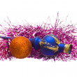 Christmas toys and tinsel. — Stock Photo