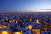 Sunset over Belgrade Covered by Snow — Stock Photo