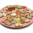 Plate full of various small christmas cookies — Stock Photo #26955641